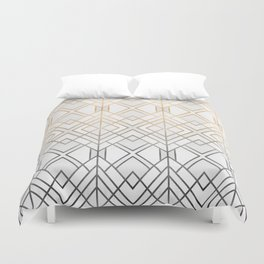 Gold And Grey Geo Duvet Cover