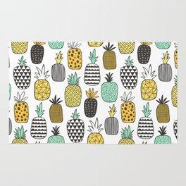 Pineapple Geometric on White Rug