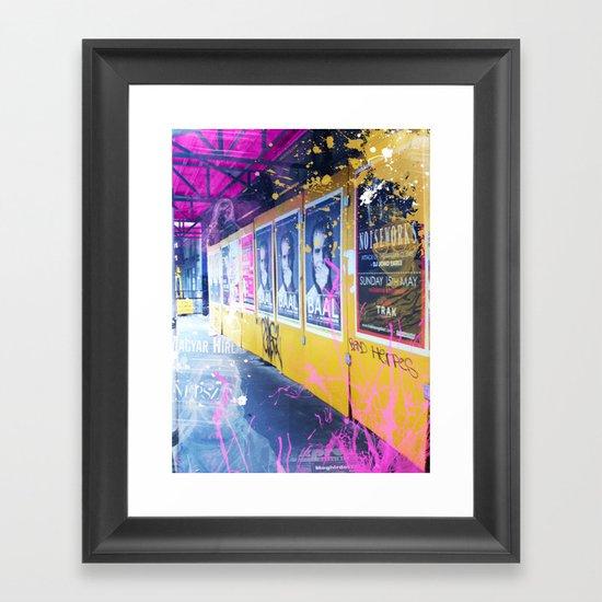 purple and yellow _  little burke graffiti Framed Art Print