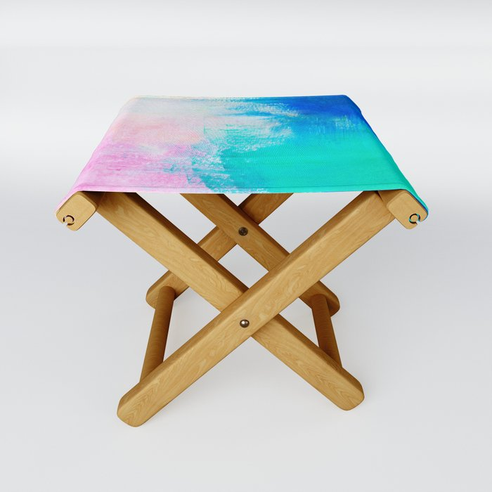 Abstract Color Blocked Painting Folding Stool