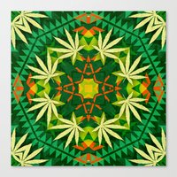 cannabis Canvas Prints featuring Tribal Cannabis by GypsYonic