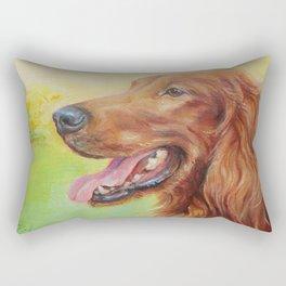 IRISH RED SETTER Dog portrait Cute pet Painting Rectangular Pillow