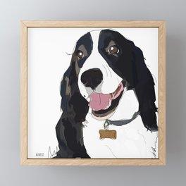 English Springer spaniel dog b/w Framed Mini Art Print