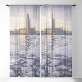 Stockholm City Hall in Winter Sheer Curtain