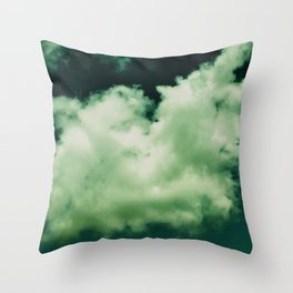 NEPHELAI SERIES Puffy clouds on teal  Throw Pillow