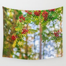 Bunches of rowan berries Wall Tapestry
