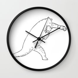 Kodiak Bear Left Straight Punch Drawing Wall Clock
