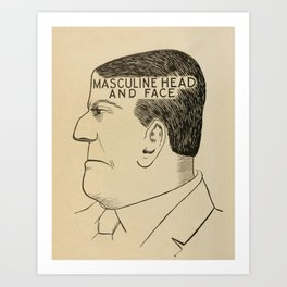 Vintage Art Print - Phrenology Diagrams from Vaught's Practical Character Reader (1902) Art Print