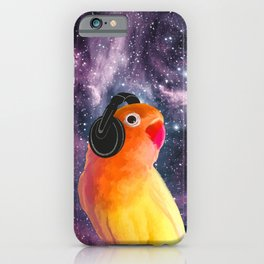 Bird Listening to Music in Outer Space iPhone Case