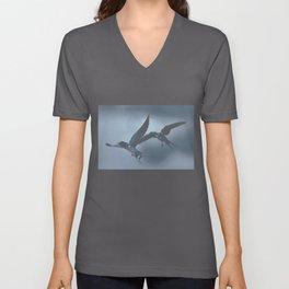 Barn swallows in flight Unisex V-Neck