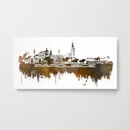 Pardubice skyline city brown #pardubice Metal Print
