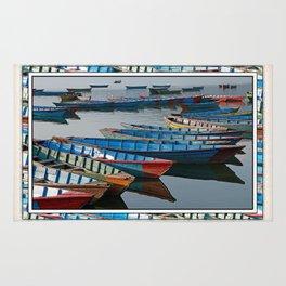 COLORFUL CANOES ALONG PHEWA LAKE SHORELINE POKHARA NEPAL 2 Rug