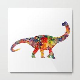 Brachiosaurus Art Dinosaur Nursery Decor Wild Animals Kids Room Watercolor Pint Colorful Art Metal Print