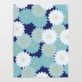 Blue oriental flowers Poster