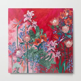 Ruby Red Floral Jungle Metal Print