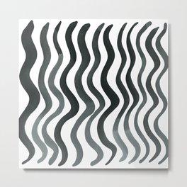 Wavy lines - grey Metal Print