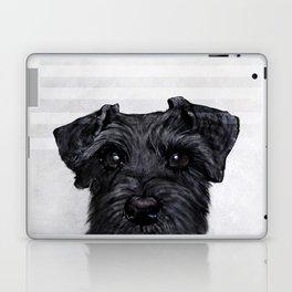 Black Schnauzer Dog illustration original painting print Laptop & iPad Skin