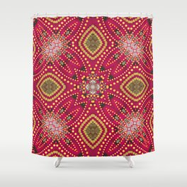 Red Gold GeoExotica Shower Curtain