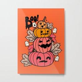 Pumpkins and ghosts Metal Print
