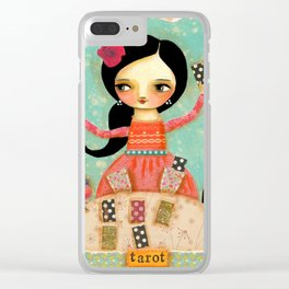 Tarot Card Reader mixed media painting by TASCHA Clear iPhone Case