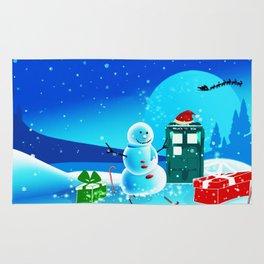 Tardis With Snow Ball Gift Christmas Rug