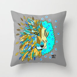 Wolf with Feathers Spirit Animal Pop Art Print Natural Throw Pillow