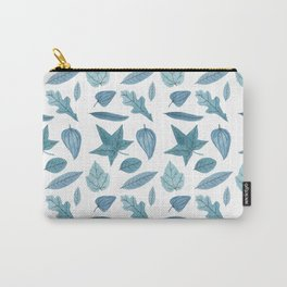 Blue Leaf Pattern Carry-All Pouch