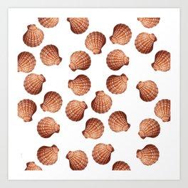 White big Clam pattern Illustration design Art Print