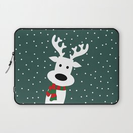 Reindeer in a snowy day (green) Laptop Sleeve