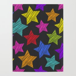 Sketch pattern with stars. Red green orange pink lilac blue stars on black background Poster