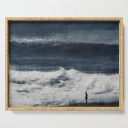 Wave Distortions - Abstract Seascape Serving Tray