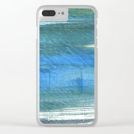 Teal blue watercolor Clear iPhone Case