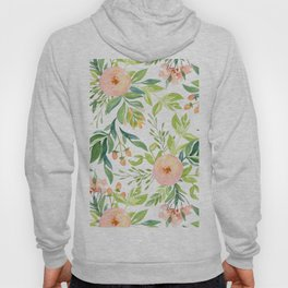 Happy Coral Pink + Green Rose Garden Hoody