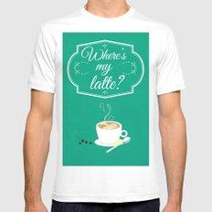 Where's My Latte? MEDIUM White Mens Fitted Tee