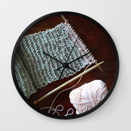 knitting, knitting photos, oatmeal color, peach, natural color, scarf, cotton Wall Clock