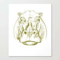 hippo Canvas Prints featuring hippo by jenapaul