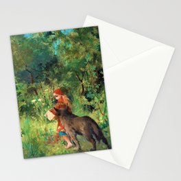 Little Red Riding Hood And The Wolf In The Forest - Carl Larsson Stationery Cards