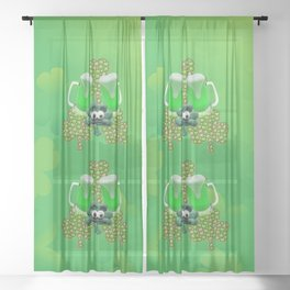 St. Patricks Day Green Beer Sheer Curtain