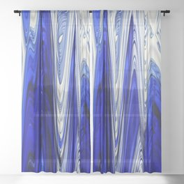 Zigzag Cobalt Blue Sheer Curtain