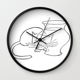 Saul Steinberg Cat and Fish, American Cartoonist Artwork for Prints Posters Tshirts Bags Men Women Youth Wall Clock