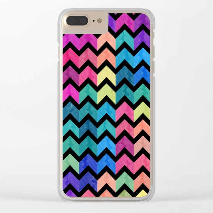 Watercolor Chevron Pattern VII Clear iPhone Case