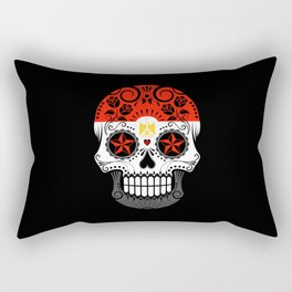 Sugar Skull with Roses and Flag of Egypt Rectangular Pillow