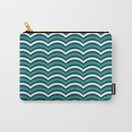 Blue And White Horizontal Lined Waves Carry-All Pouch