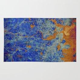Boston Massachusetts 1893 colorful vintage old map. Orange and blue artwork Rug