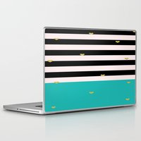 gold foil Laptop & iPad Skins featuring Gold Foil & Teal by msstephiebaby