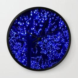 Lights blue tree night glow Wall Clock