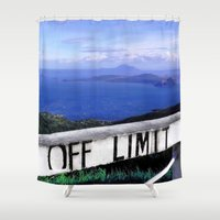 philippines Shower Curtains featuring OFF LIMIT (Philippines) by Julie Maxwell