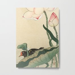 Bird Behind Lotus Flower - Vintage Japanese Woodblock Print Metal Print