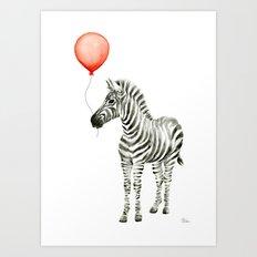 Baby Zebra Whimsical Animal with Red Balloon Nursery Art Art Print