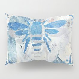 Honey Bee Wreath Blue Farmhouse Country Rustic Pillow Sham
